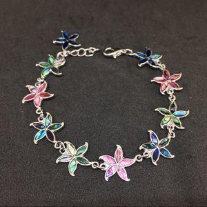 Jewelry - Paua Shell Flower Link Bracelet Pink Blue Green